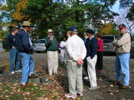 Dr. Hugh Earnhart gives the Round Table members a tour of the fighting at Culp's Hill on the Gettysburg Battlefield. (Image Courtesy Dan Welch)