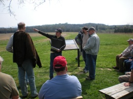 Friend of the Round Table and tour guide Matt Atkinson describes the fighting at Brawner Farm on August 28, 1862. (Image Courtesy Dan Welch)