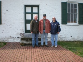 Members and friends (Left to Right) Mike Miller, Gordy Morgan, and Rock Basciano pose at the famous Dunker Church on the Antietam battlefield. (Image Courtesy Mike Miller)