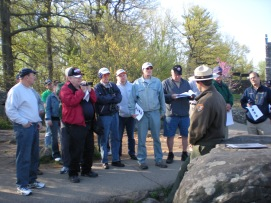 Chief of Interpretation and Education at Gettysburg National Military Park, Chris Gwinn, gives the group an in-depth look at the fighting on Little Round Top. (Image Courtesy Sarah Welch)