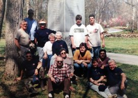 One of the Round Table's many work weekend trips to Gettysburg to clear brush and pick up litter around the 5th Ohio Monument on the battlefield as part of the Adopt-a-Position program. (Image Courtesy Gary Wholf)