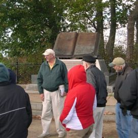 MVCWRT Founder Dr. Hugh Earnhart leads attendees on a trip to Gettysburg on a tour of the fighting around the Copse of Trees on Cemetery Ridge. (Image Courtesy Dan Welch)
