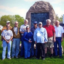 A Round Table trip to the Valley ends with a group picture at the monument to the fighting at Stephenson's Depot. (Image Courtesy Mike Miller)