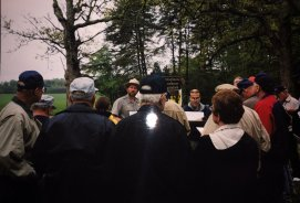 National Park Service Historian Greg Mertz gives a tour of the Spotsylvania battlefield to attendees of a Round Table trip through Richmond, Virginia and the Overland Campaign. (Image Courtesy Mike Miller)