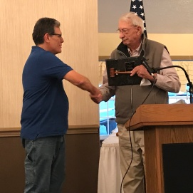 Longtime Editor and Program Director of the Mahoning Valley Civil War Round Table, Gordy Morgan, accepts an award of recognition for his years of service in this role by Round Table founder Hugh Earnhart. Gordy accepted this award upon his retirement to Gettysburg in the fall of 2018. (Image Courtesy Debbie Morgan)