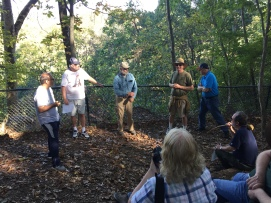 Historian Jim Morgan gives attendees on fall battlefield trip a captivating tour of battlefield at Ball's Bluff. (Image Courtesy Gordy Morgan)