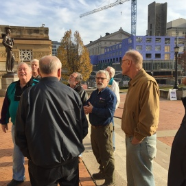 Curator at Soldiers and Sailors Memorial in Pittsburgh, Pennsylvania, and longtime friend, Mike Krauss, gives members of the group a behind-the-scenes tour. We began with the history and architecture of the building.(Image Courtesy Gordy Morgan)