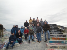 "Round Table members that attended the ""Retreat from Gettysburg"" tour stop for a group picture at High Rock. (Image Courtesy Jerry Arnsberger)"