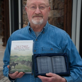 "Richard Schaus, co-author of ""Lee is Trapped, and Must be Taken,"" holds the 2020 Mahoning Valley Civil War Round Table Hugh G. Earnhardt Scholarship Award."